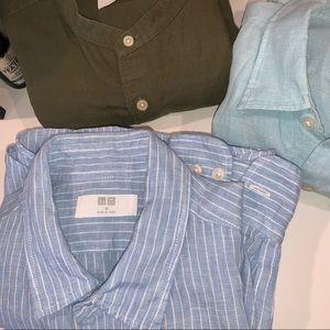 Uniqlo linen button down bundle of 3 shirts